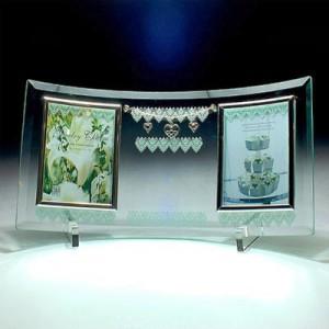 ガラス彫刻MomoWorksサンプル写真 MYU-2 ジュエリーチャームガラスフォトフレーム